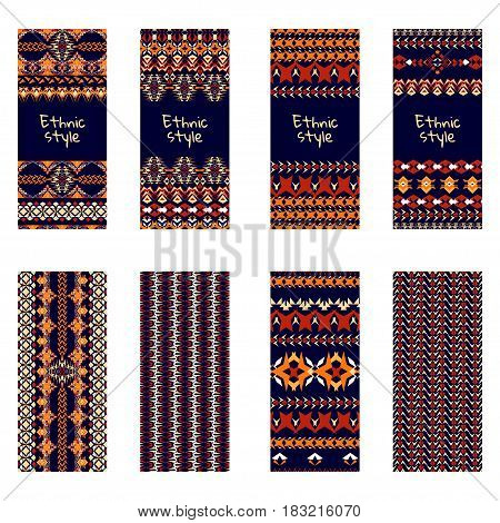 Vector set of colorful vertical banners for business and invitation. Ethnic tribal ornaments. Boho style. Geometric stripes motifs