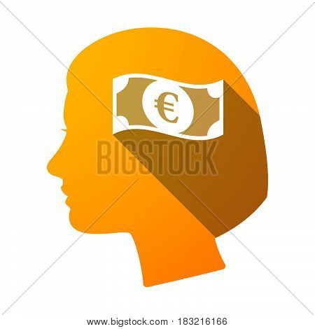 Isolated Female Head With  An Euro Bank Note