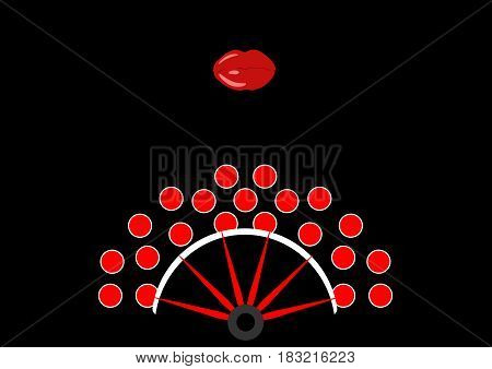 Beauty Concept, flamenco fan icon and red lips, Vector illustration