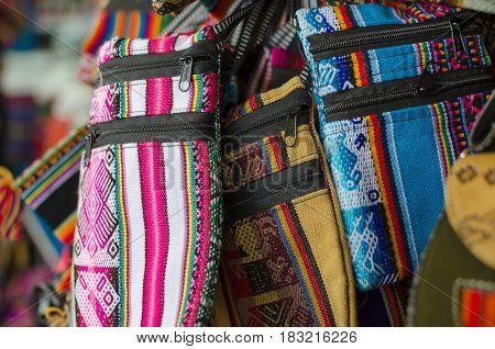 CUZCO PERU 08 FEBRUARY 2017: Colourful bags at souvenir market