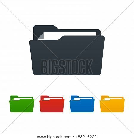 Open folders with documents on white background. Colorful isolated icons. Vector illustration.