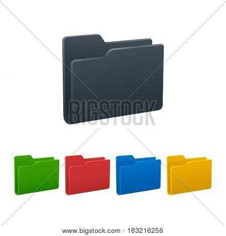 Design of folders on white background. Colorful isolated icons. Vector illustration.
