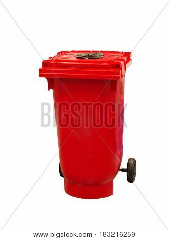 Red garbage trash bin isolated on white background.