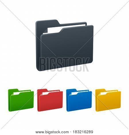 Design of folders with documents on white background. Colorful isolated icons. Vector illustration.