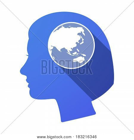 Isolated Female Head With  An Asia Pacific World Globe Map