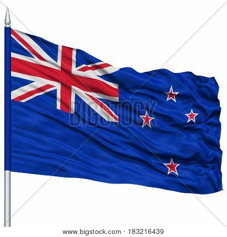 New Zealand Flag on Flagpole , Flying in the Wind, Isolated on White Background