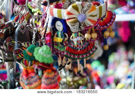 CUZCO PERU 08 FEBRUARY 2017: colourful trinkets at Peruvian souvenir market
