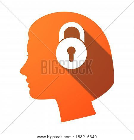 Isolated Female Head With  A Closed Lock Pad