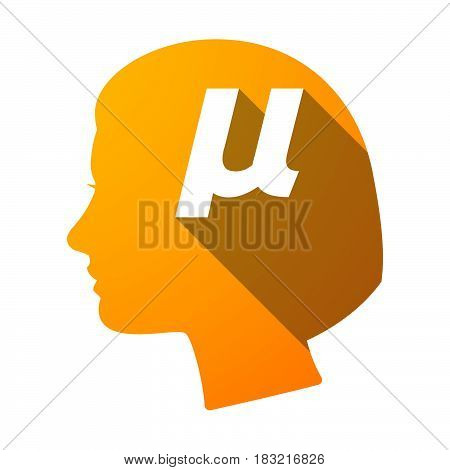 Isolated Female Head With  A Micro Sign, Mu Greek Letter