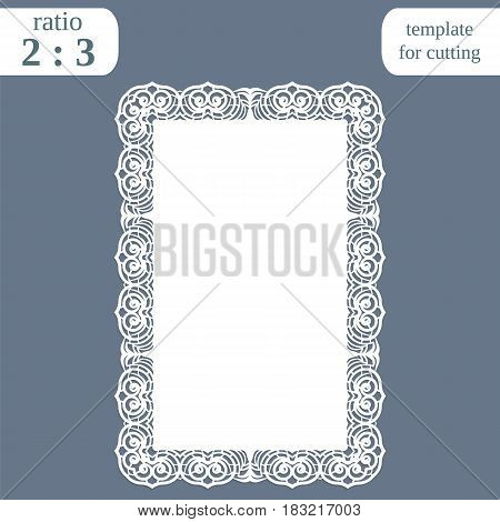 Greeting card with openwork border rectangular paper doily template for cutting wedding invitation decorative plate is laser cut vector illustrations.