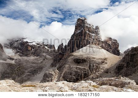 View of Croda Auronzo Berti South Tirol Sextener Dolomites mountains Italy