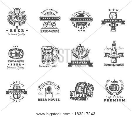 collection of retro beer emblems, badges, stickers isolated on white.