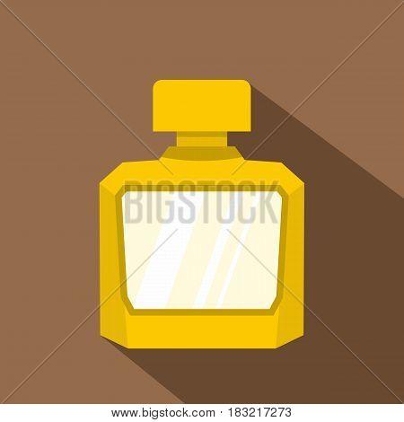 Yellow jar of perfume icon. Flat illustration of yellow jar of perfume vector icon for web on coffee background