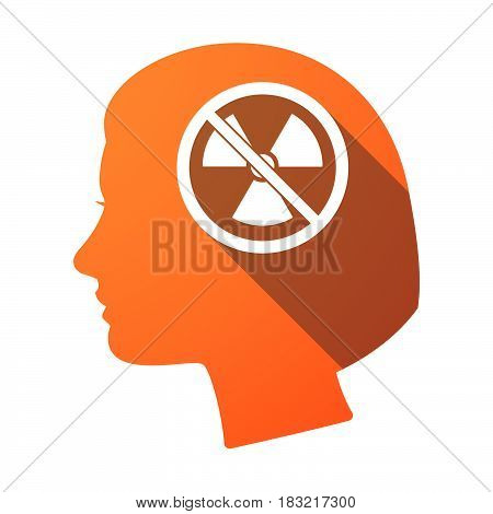 Isolated Female Head With  A Radioactivity Sign  In A Not Allowed Signal