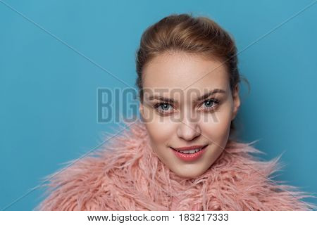 Portrait of face of attractive woman demonstrating felicity. Smiling concept