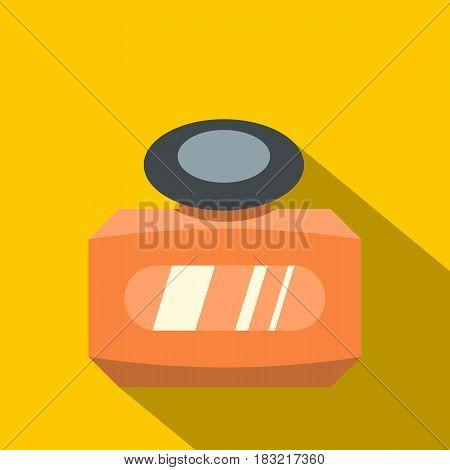 Orange bottle of female perfume icon. Flat illustration of orange bottle of female perfume vector icon for web on yellow background