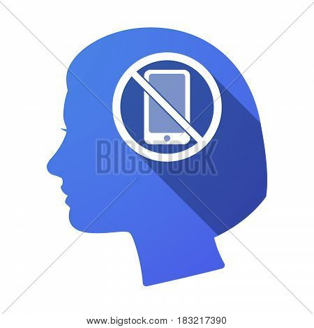 Isolated Female Head With  A Phone  In A Not Allowed Signal