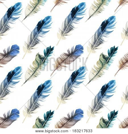 Seamless pattern with colorful watercolor feathers