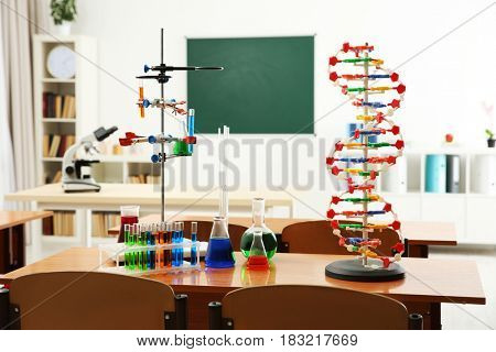 Desks with different tools in chemistry class