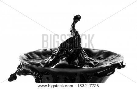 Oil splashes on white background