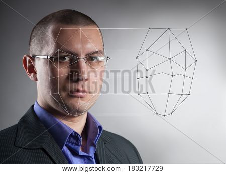 Biometric Verification - Man Face Detection, high technology