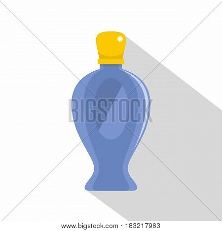 Blue perfume bottle with yellow lid icon. Flat illustration of blue perfume bottle with yellow lid vector icon for web on white background