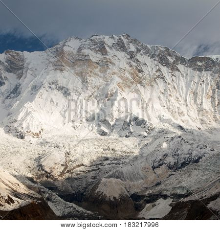 Annapurna morning view from mount Annapurna southern base camp with beautiful cloudy sky Nepal