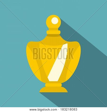 Elegant woman perfume yellow glass bottle icon. Flat illustration of elegant woman perfume yellow glass bottle vector icon for web on baby blue background