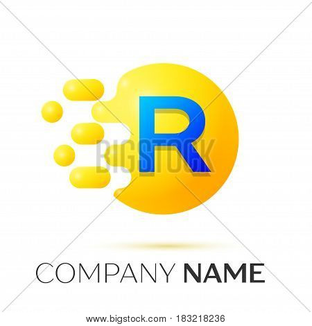 R Letter splash logo. Yellow dots and circle bubble letter design on grey background. Vector Illustration