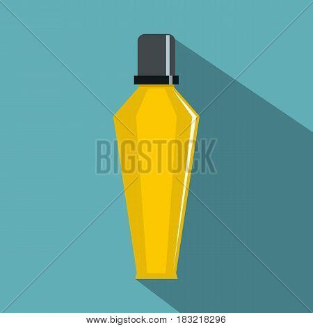 Elegant woman perfume glass bottle icon. Flat illustration of eegant woman perfume glass bottle vector icon for web on baby blue background