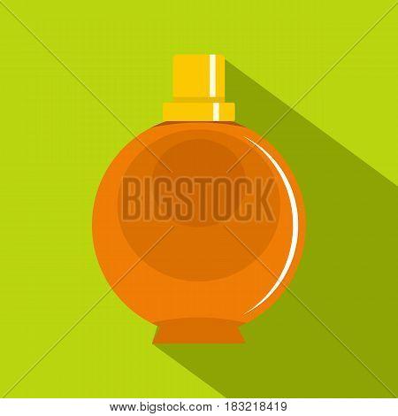 Elegant woman perfume orange round glass bottle icon. Flat illustration of elegant woman perfume orange round glass bottle vector icon for web on lime background