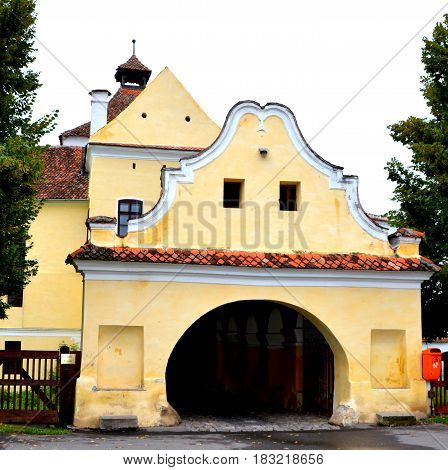Entrance in the fortified medieval saxon church in the village Harman, Transylvania, Romania. Since its founding around the 13 century it was one of the most important villages in the Burzenland area, where there was a strong Transylvanian Saxon community