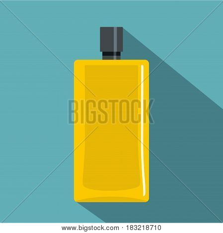 Yellow scent bottle icon. Flat illustration of yellow scent bottle vector icon for web on baby blue background