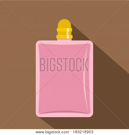 Pink bottle of female perfume icon. Flat illustration of pink bottle of female perfume vector icon for web on coffee background