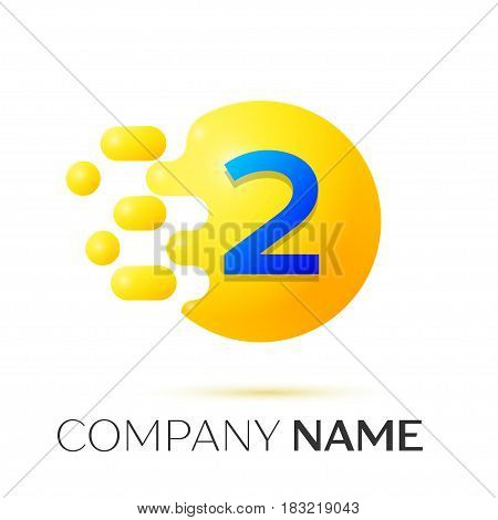 Number two splash logo. Yellow dots and bubbles number design on grey background. Vector Illustration