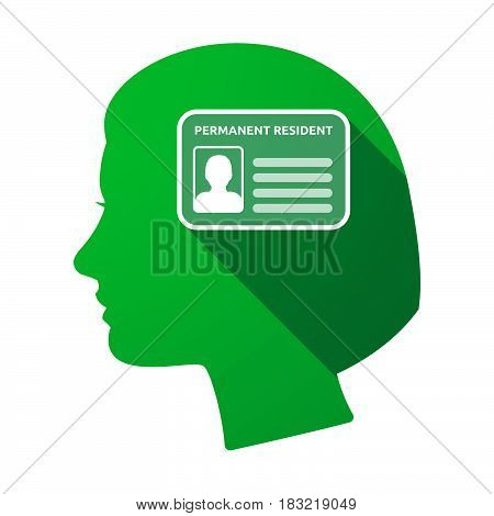 Isolated Female Head With  A Green Card