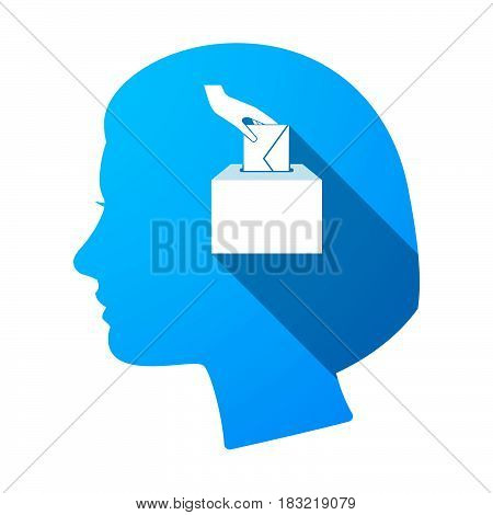 Isolated Female Head With  A Hand Inserting An Envelope In A Ballot Box