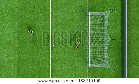 Football goalkeeper catches the ball jump top view. 3d rendering