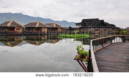 Wooden Cottages At The Luxury Resort On Lake