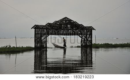 Wooden Gate On The Lake