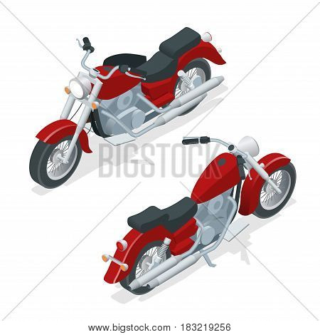 Isometric motorcycle or motorbike isolated on white background. The concept of freedom and travel.