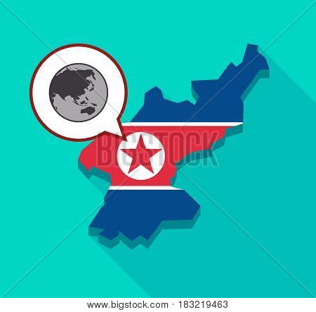 North Korea Map With  An Asia Pacific World Globe Map