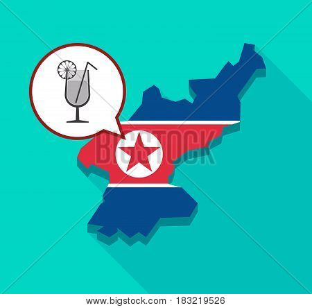 North Korea Map With  A Cocktail Glass With A Slice Of Lemon And A Straw