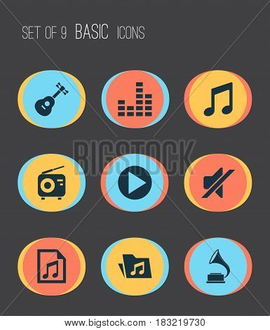 Multimedia Icons Set. Collection Of File, Instrument, Start And Other Elements. Also Includes Symbols Such As Antique, Controlling, Dossier.