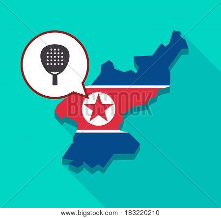 North Korea Map With  A Paddle Racket