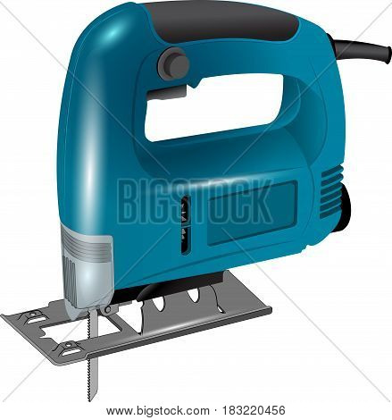 Electric jigsaw in red body. Electric Tools isolated on white background. Vector illustration