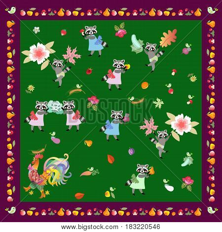 Napkin handkerchief or pillowcase for baby with cute cartoon characters and unusual frame from fruits. Rooster and funny raccoons on green background. Harvesting.