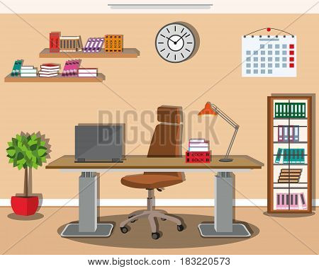 Modern office interior design with stylish furniture. Comfortable working place - desktop,chair, bookshelves, bookcase,laptop and desk lamp. Flat style vector illustration.