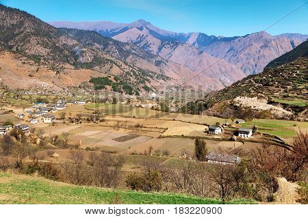 Autumnal panoramic view from western Nepal around Kolti village - Rara to Khaptad trek