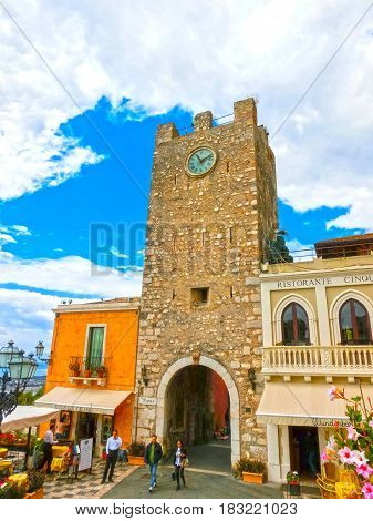 Taormina, Sicily, Italy - May 05, 2014: View over the main entrance to square in Taormina, Sicily, Italy Europe on May 05 2014